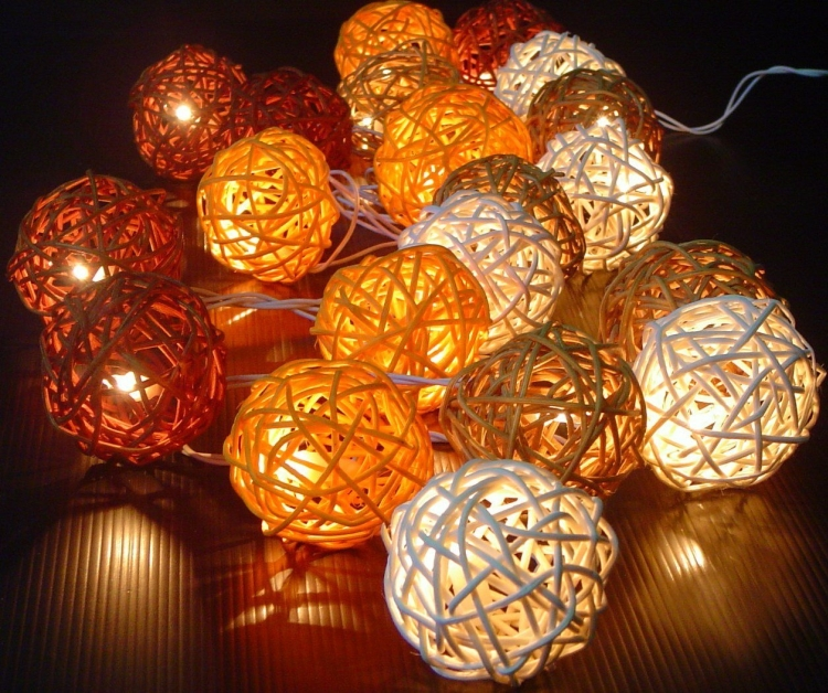 Autumn Shades Of Brown Rattan Ball Fairy Light String