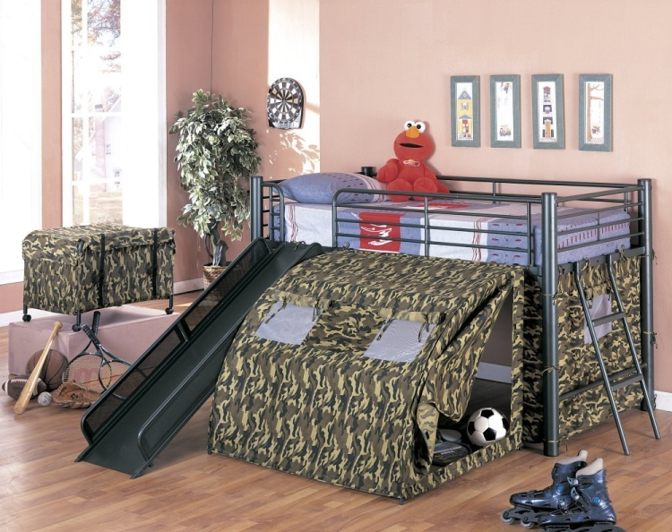 Coaster Kids GI Child Bunk Bed with Slide and Tent