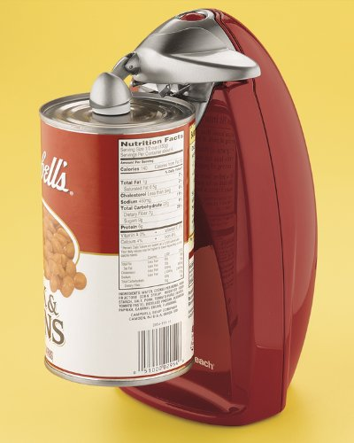 Compact Electric Countertop Chrome Red Can Opener