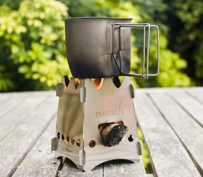 Emberlit Camping Stove - Stainless Steel with Cross Bars