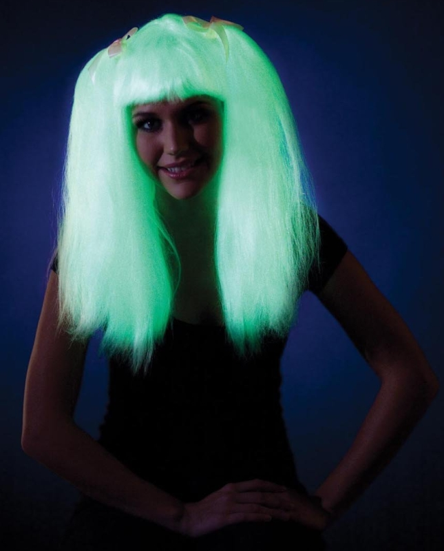Glow In The Dark Pigtails Costume Wig Adult