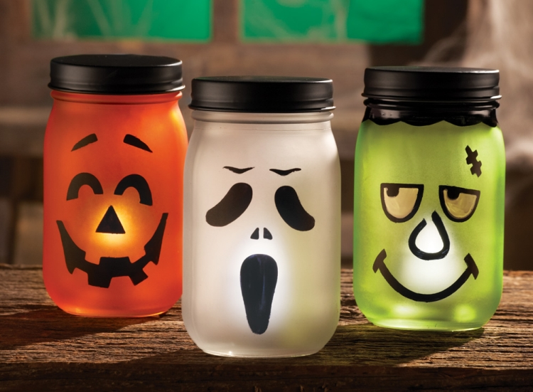 Jack O Lantern Halloween LED Lighted Jars