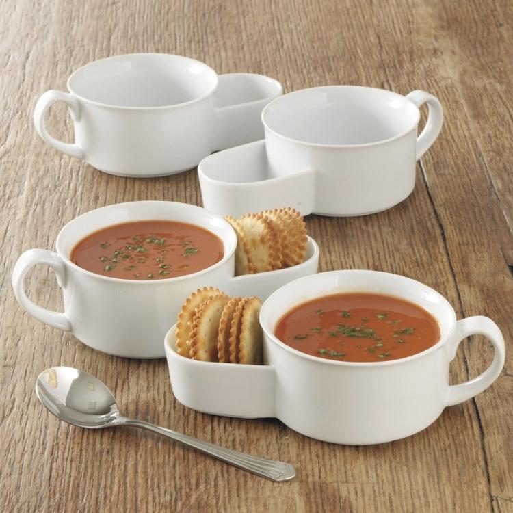 Porcelain Soup and Cracker Bowls
