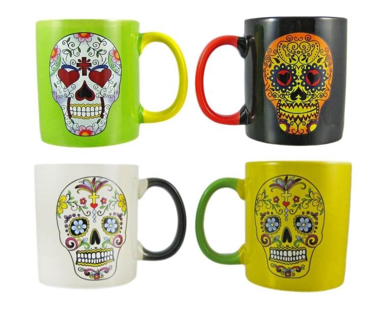 Set Of 4 DAY OF THE DEAD Sugar Skull Ceramic Coffee Mugs