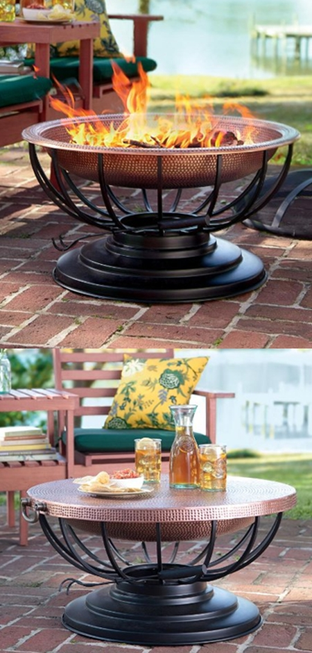 Solid Hammered Copper Fire Pit