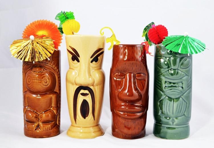 Tiki Mug Set of 4 with Cocktail Picks