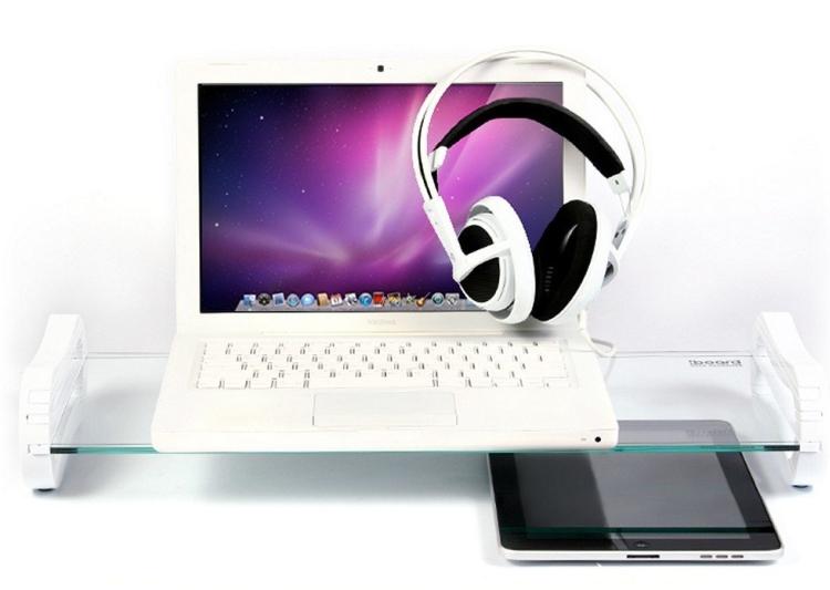 White iRoo iBoard Premium Desk OrganizerTempered Glass