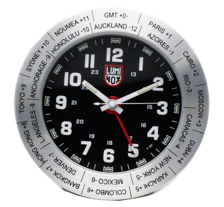 World Time Travel Alarm Clock LWAC.ST Stainless Steel