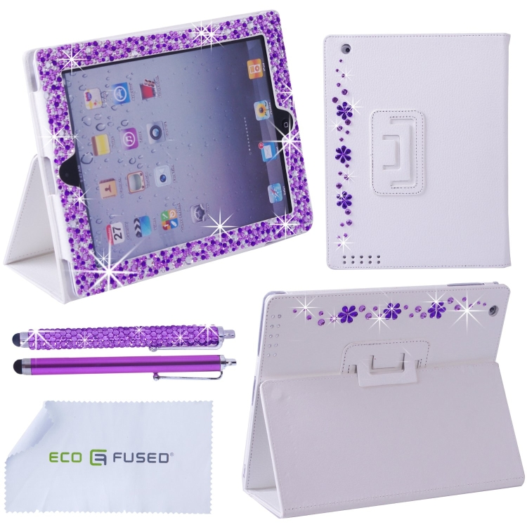 iPad 4 3 2 White Leather Case with (Mixed Purple) Sparkling Rhinestone Flowers