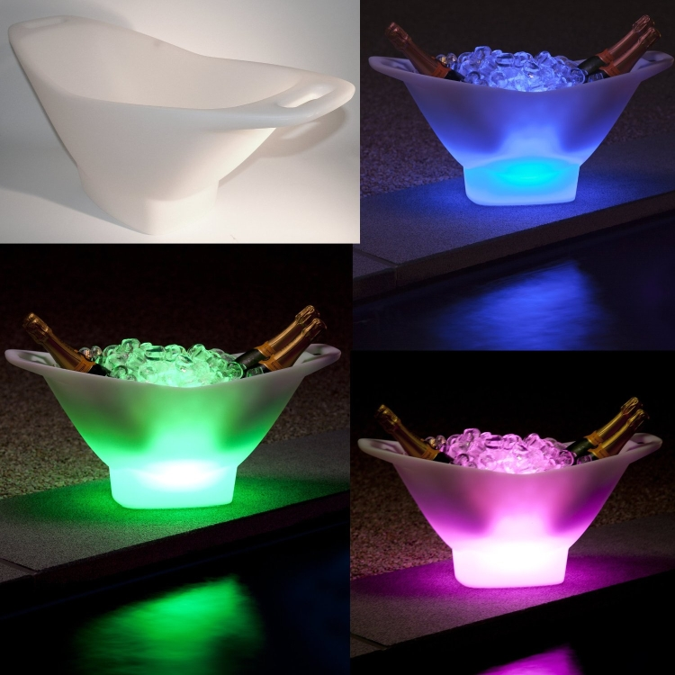 CHAMPAGNE Ice Bucket and Wine Cooler with cordless LED