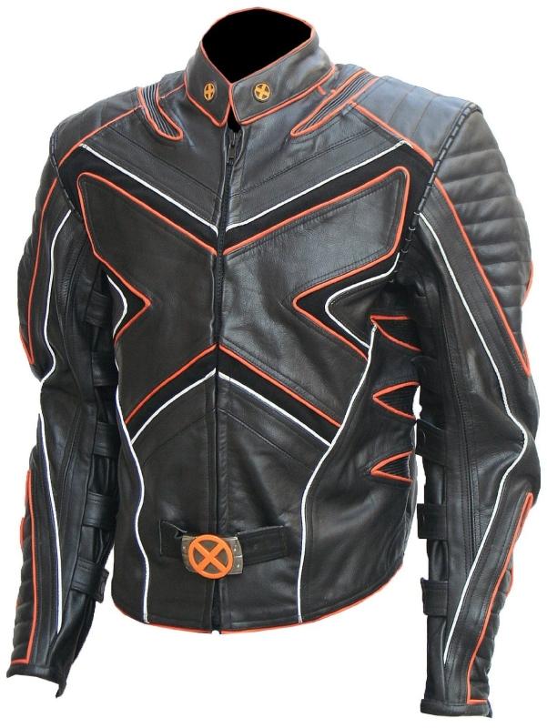 Men Wolverine Black  Orange Fashion Leather Jacket