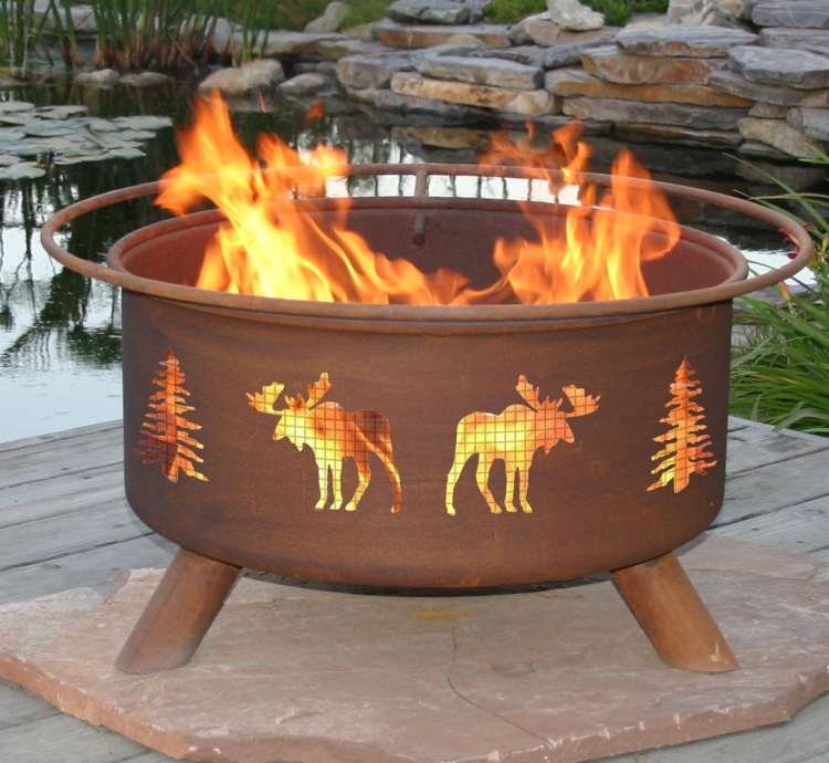 Patina Moose and Tree 31Inch Fire Pit