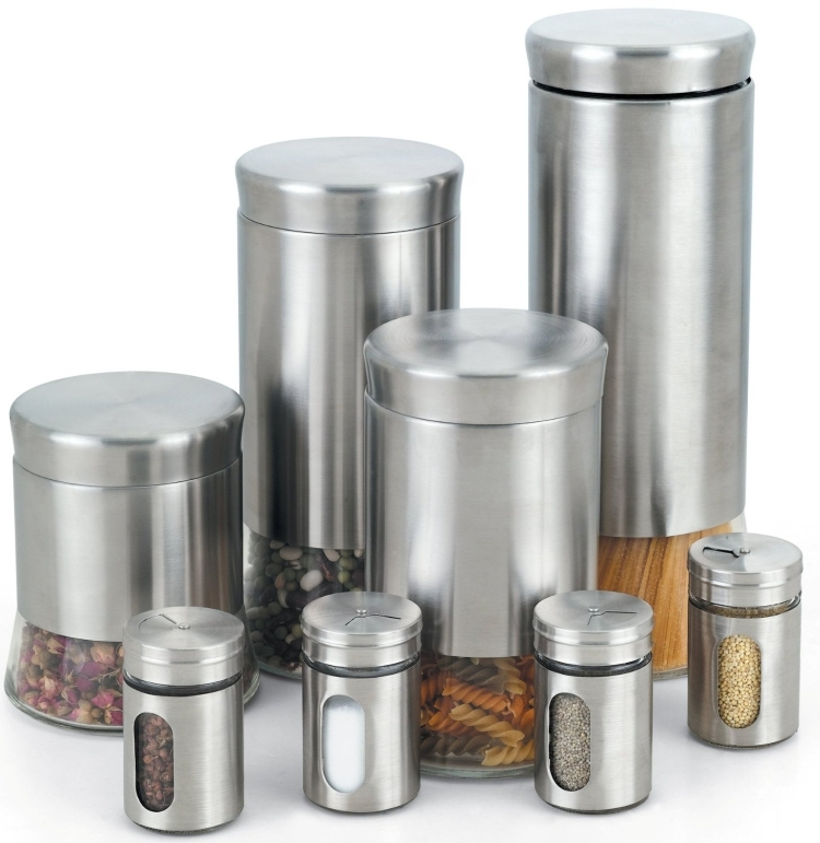 Stainless Steel Canister and Spice Jar Set