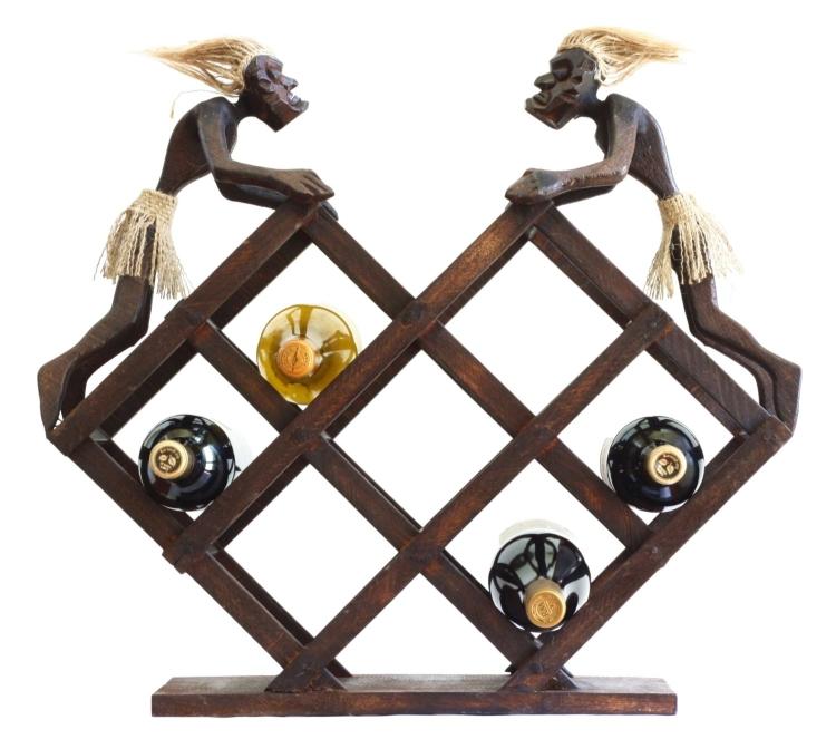 Wine Rack 8 Bottles Primitive Hand Carved Wooden Wine Holder Tiki