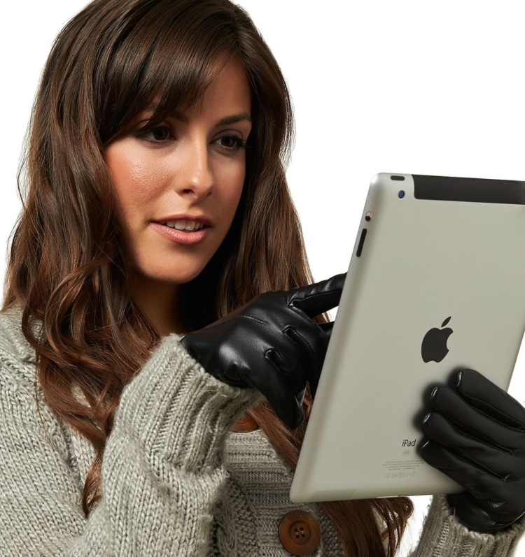 Womens Wool Lined Touchscreen Leather Gloves