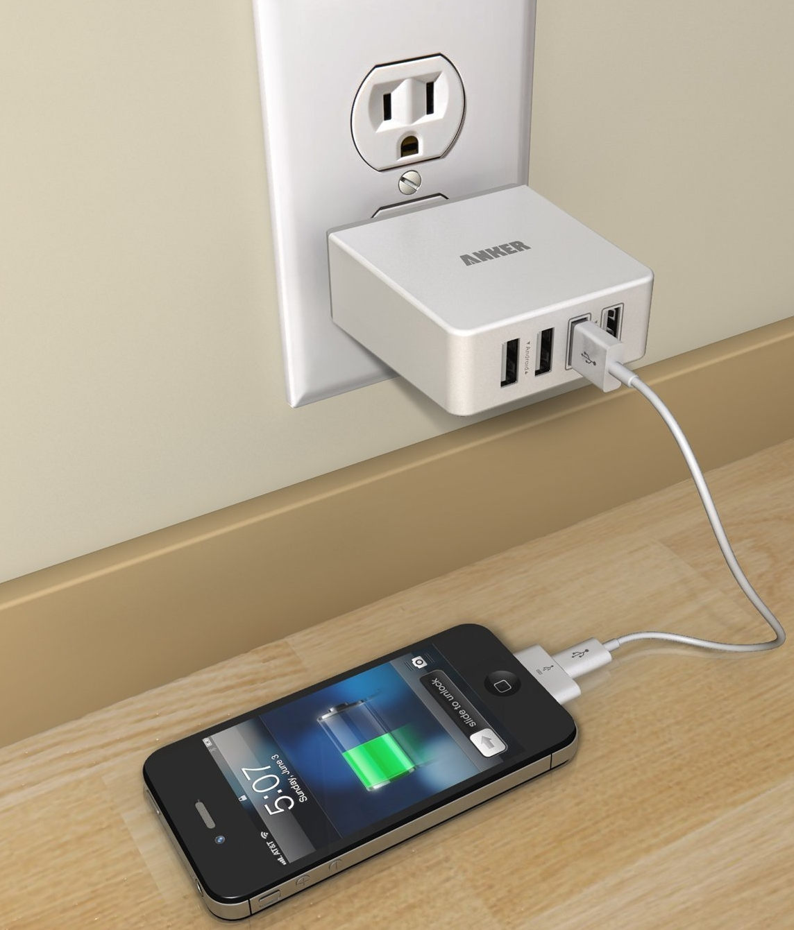 36W7.2A Quad-Port Compact USB Wall Charger