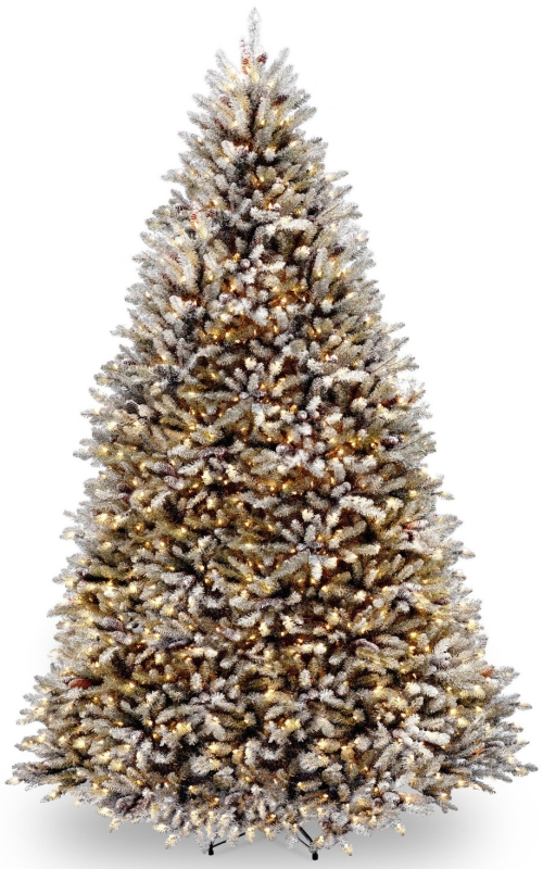 9Feet Snowy Dunhill Fir Tree with Cones and 900 Clear Lights