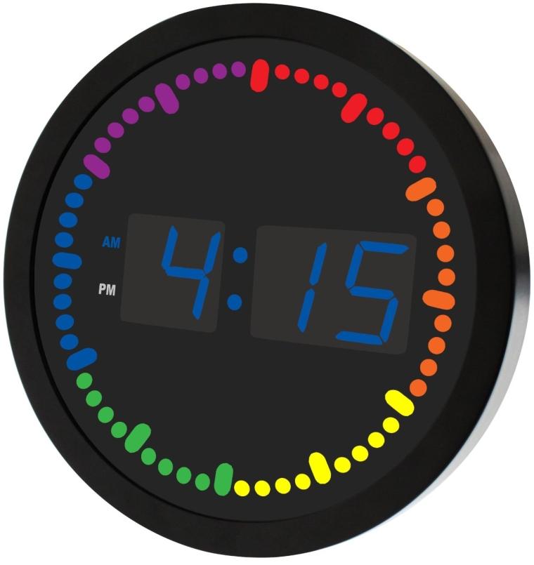 Big Digital LED Clock with Rainbow Color