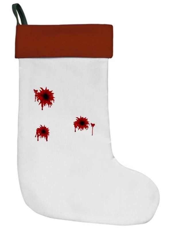 Bloody Bullet Hole Ash Grey Christmas Stocking Christmas Stocking