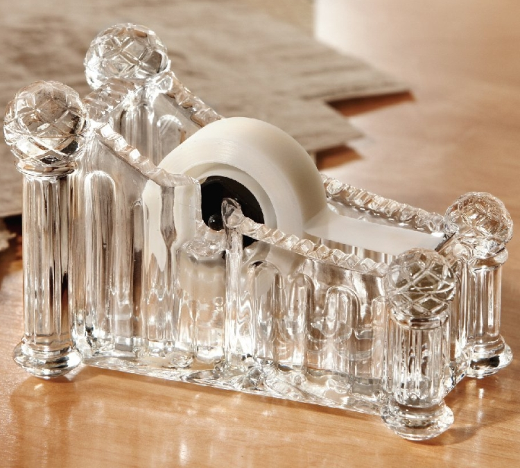 Crystal Clear Glass Tape Dispenser