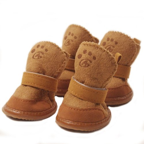 Cute Pet Paw Snow Boots for Dogs Nonslip Winter Pet Boots 4 Pcs