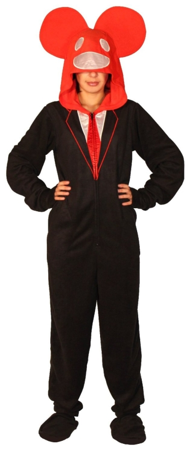 Dead Mouse Adult Black and Red Hooded Footie One Piece Costume Pajama