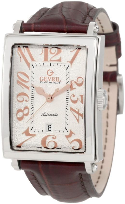 Gevril Mens venue of America Swiss Automatic Rose-Gold Brown Leather Watch