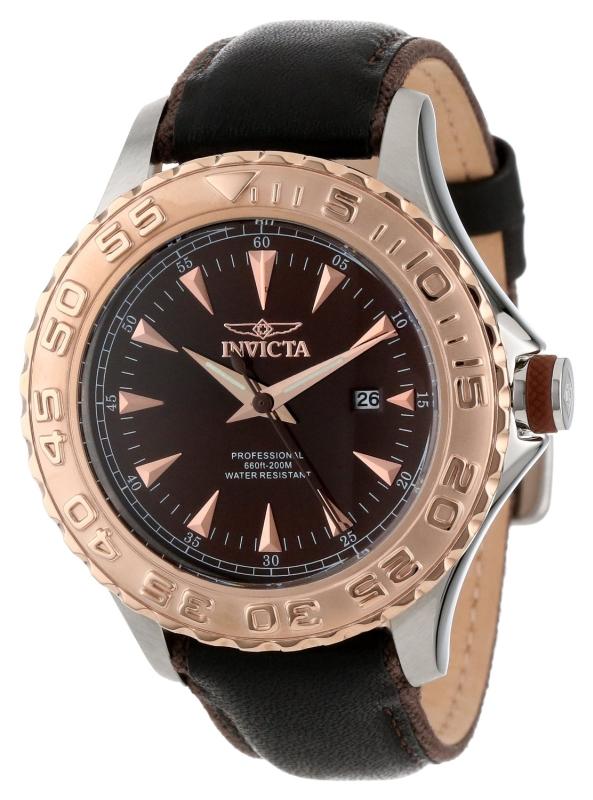 Invicta Mens Pro Diver Black Dial Black Leather Strap Watch