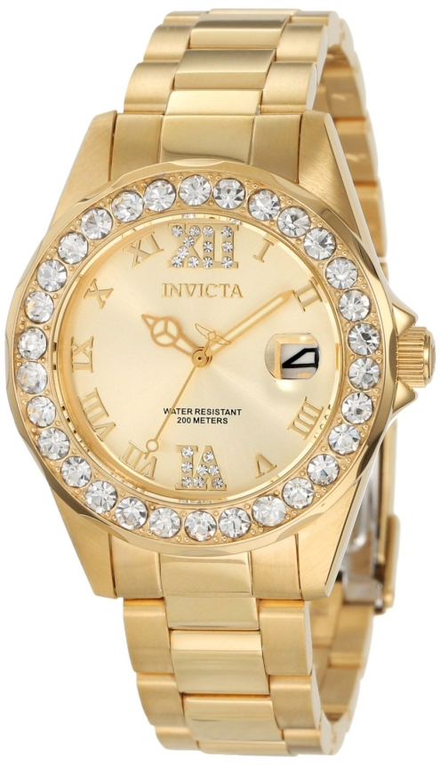 Invicta Womens 15252 Pro Diver Gold Dial Gold Plated Stainless Steel Watch