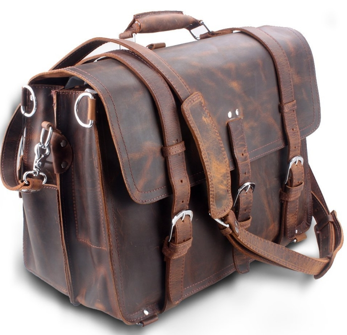 Leather Mens Large Business Travel Messenger Bag Backpack