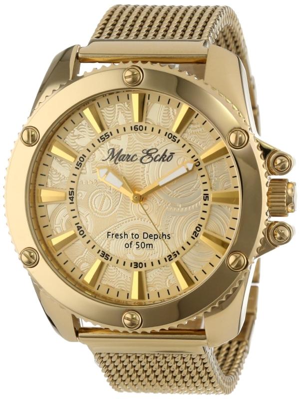 Marc Ecko Mens Gold Mesh Gold Dial Watch