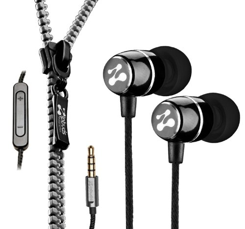 Metal Earbuds with 3Button MicRemote and Tangle Free Zipper Cabling