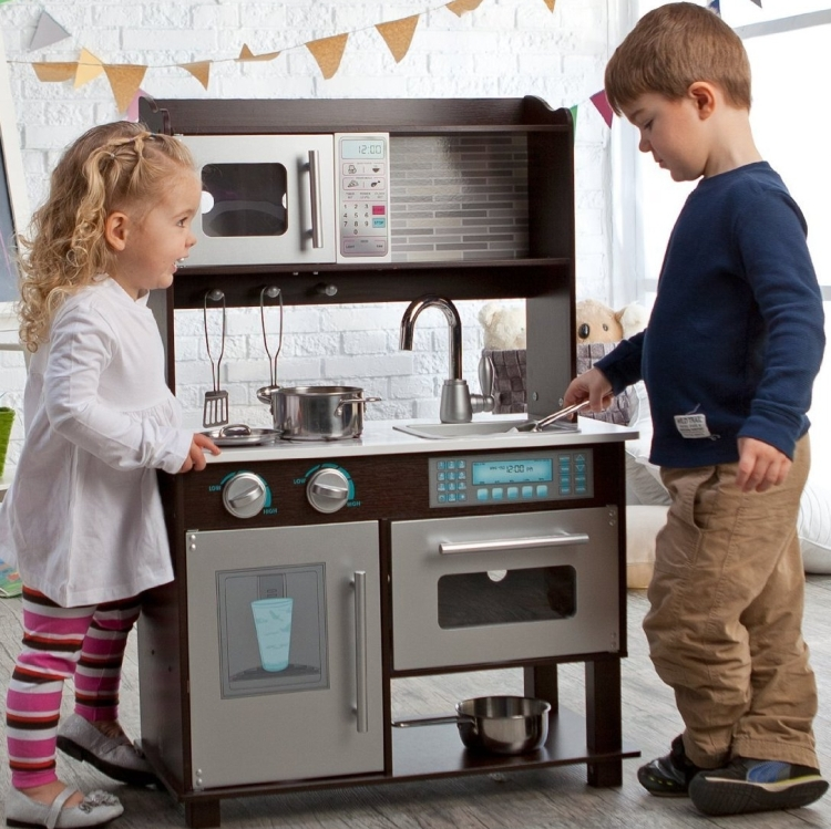 Toddler Play Kitchen with Metal Accessory Set