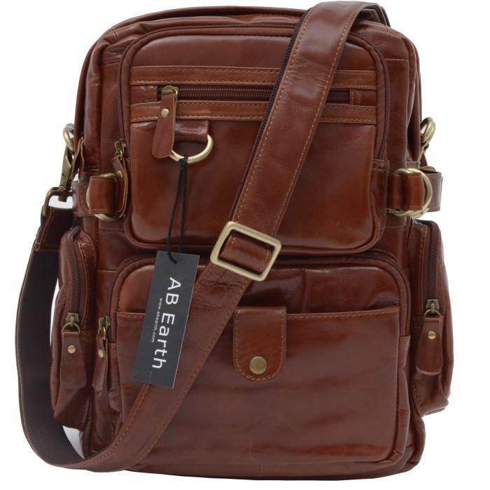 Vintage Leather Mens Hiking Backpack