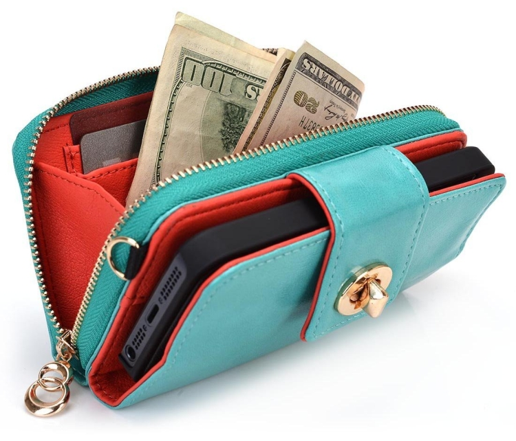 Wristlet Built-in Stand Wallet Clutch for Apple iPhone 5C