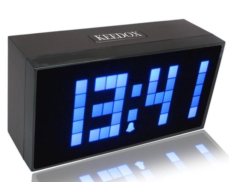 igital Large Display Soft Blue LED Light Snooze Wall Desk Alarm Calendar Clock