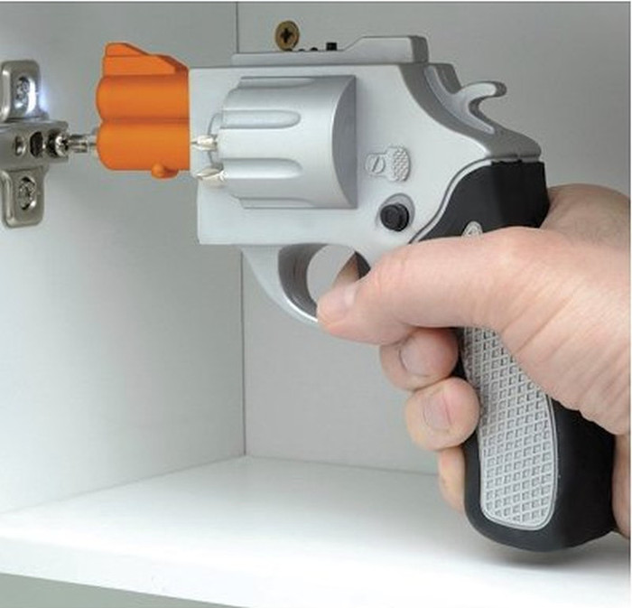 Silver Revolver Shaped Screwdriver