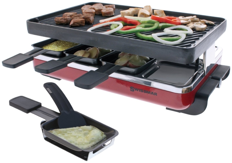 8 Person Raclette with Reversible Cast Iron GrillGriddle Plate
