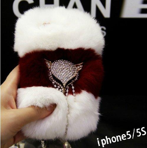 Bling Luxury New Design Genuine Rex Rabbit Hair Case Cover for Iphone 55s