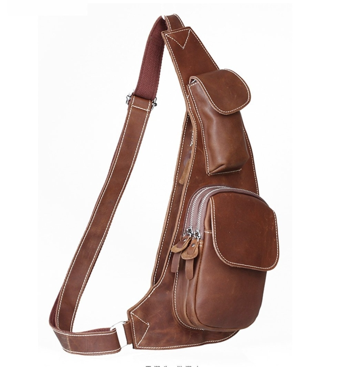 Cow Leather Cross Chest Shoulder Sling Bag
