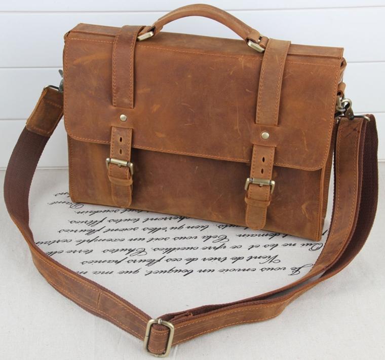 Crazy Horse Leather Briefcase Shoulder Bags Laptop Computer Messenger Bag