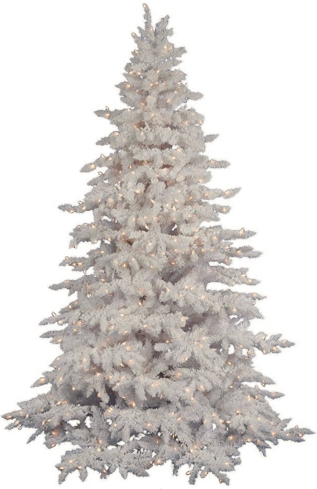 Flocked White Spruce Clear Pre-lit Christmas Tree