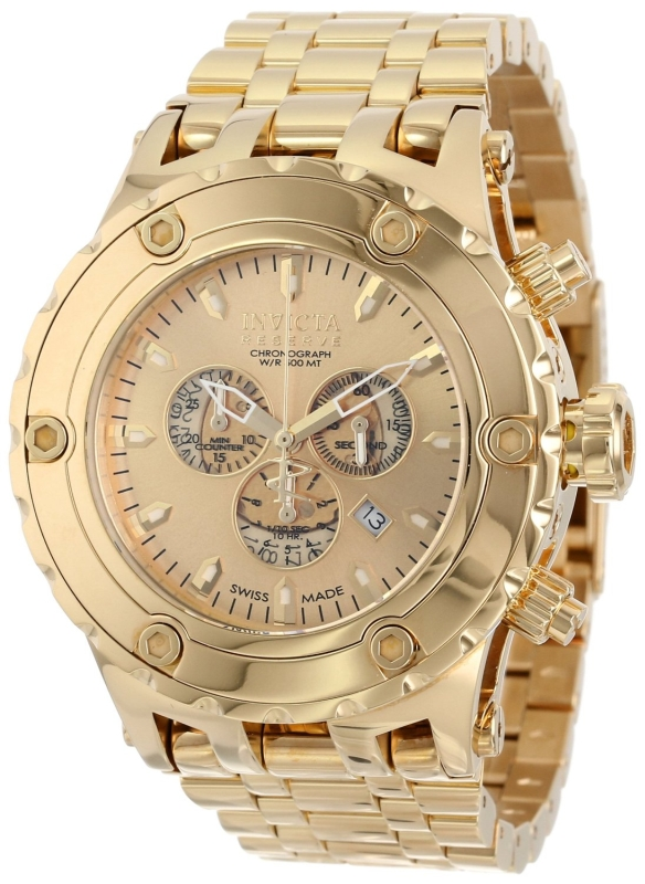 Invicta Mens 18k Gold Ion-Plated Stainless Steel Watch