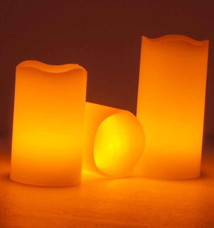 LED Pillar Wax Candles Yellow Lights with Remote Control Timer