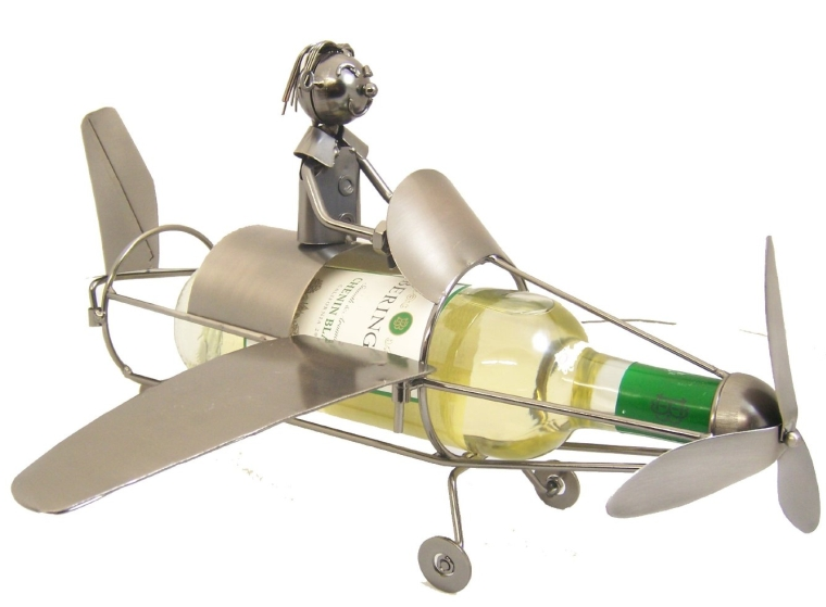 Metal Airplane Figurine and Wine Bottle Holder