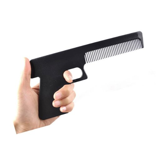 Novelty Geek Funny Hand Gun Hair Comb Brush Gift