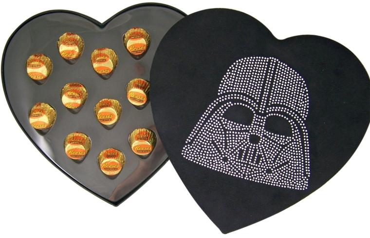Rhinestone Jeweled Darth Vader Head Heart Shape Felt Candy