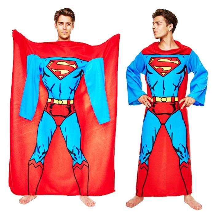 Superman Muscle Print Adult Lounger Fleece Sleeve Blanket