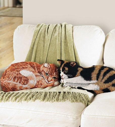 Tapestry Orange Tabby Cat Throw Pillow