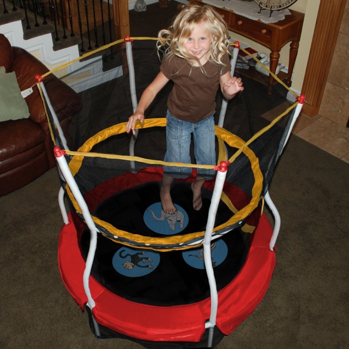 Trampolines 48 In. Round Zoo Adventure Bouncer with Enclosure